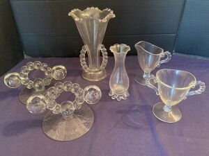 Candlewick assortment - vase, bud vase, pair of candlestick holders, creamer, goblet