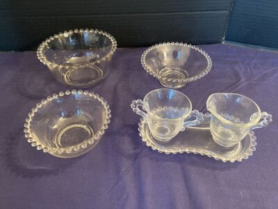 Candlewick trio of bowls and cream & sugar on tray