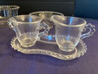 Candlewick trio of bowls and cream & sugar on tray - 2
