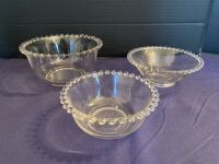 Candlewick trio of bowls and cream & sugar on tray - 3