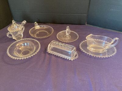 Candlewick assortment - gravy boat, sugar bowl, butter dish and more