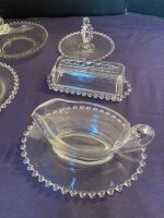 Candlewick assortment - gravy boat, sugar bowl, butter dish and more - 3