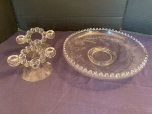 Candlewick shallow bowl and a pair of candlestick holders