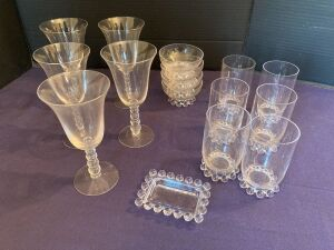 Candlewick wine glasses, juice glasses, ashtray and ice cream bowls