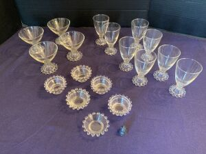Candlewick sherbet cups (4), glasses (8) and salt pinchers (11)