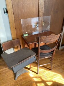 School desk, entryway table & chair and a piece of plexiglass - desk measures 30 x 15 x 28