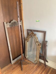 Mirror, coat rack, (2) dresser mirror frames and a blue recliner