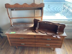 Very cool Lane midcentury modern cedar chest (original key and measures 43 x 17 x 21) and two tchotchke shelves