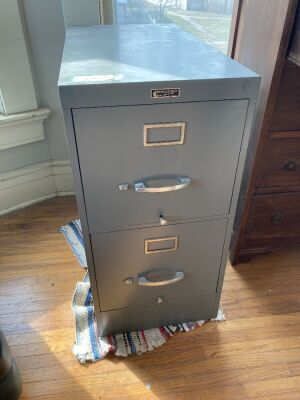 Anderson-Hickey Co. metal two drawer letter filing cabinet - HEAVY - measures 15 x 28 x 30