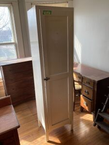 Wood pantry/linen/supply cupboard - measures 18 x 13 x 68 and has been painted white