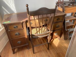 7-drawer desk and a cane seat/spindle back chair - desk measures 48 x 18 x 30