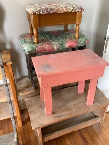 Take a load off with these! 4 benches and a sewing stool with storage