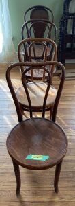 4 more bentwood chairs, including a cane seat, in various conditions