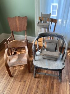 Take a seat with these! Four child size chairs, a doll high chair and the seat & tray of a doll high chair