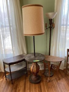 Trio of end tables and a floor lamp w/ milk glass shade