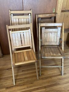 Quartet of wooden folding chairs - two of each style