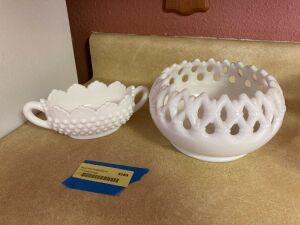 Fenton double handled milk glass dish and Westmoreland bowl