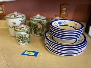 John B Taylor 4pc stoneware canister set (1 lid is chipped) in Harvest pattern and 6 Gibson cereal bowls w 7 Gibson deep plates