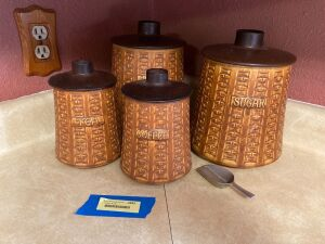 Four piece canister set marked Ceramano W Germany