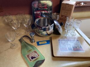 Vino grouping-mismatched stemware, ice bucket w tongs, decor, wine brique, 7pc wine tool kit