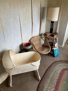 Bassinet, telephone stand, wicker chair, round table, lamp, water slide and more