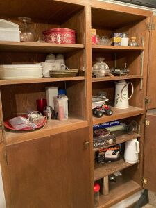 All contents remaining in cabinets including an ice bucket, coffee carafe, Reynolds Wraps, reproduction tins, straw holders, meat grinder, coffee cups and more