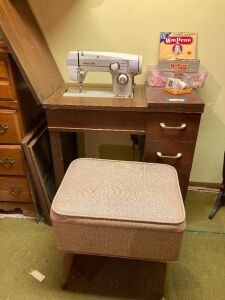 Domestic sewing machine w pedal in table and bench seat