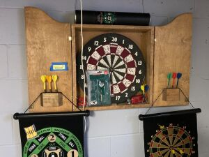 Dartboard assortment - two roll-ups and one wall mounted. Buyer must be prepared to remove dart board from wall.
