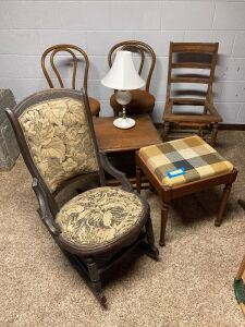 Group of seating, piano/sewing bench and a lamp