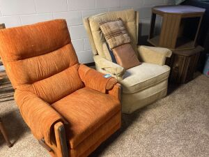 Pair of vintage armchairs (orange is a recliner) and two octagon end tables