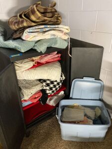Linen cupboard (27x29x39) with linens - blankets, quilts, bedspread and more - buyer takes cupboard, too!