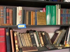 Two shelves of books and other miscellaneous items - see all photos for titles, The Acorn 1928 Book Not Included!!!