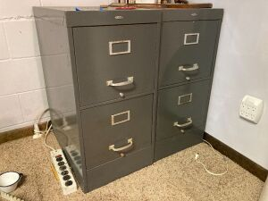 Pair of Cole Steel two-drawer filing cabinets