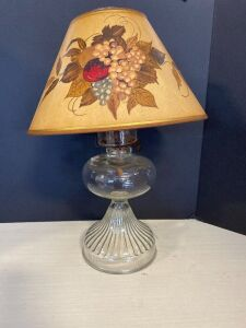 VINTAGE OIL LAMP WITH CHIMNEY AND PAPER SHADE
