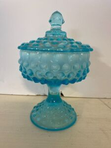 BLUE OPALESCENT HOBNAIL GLASS COVERED CANDY DISH