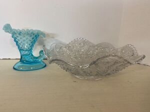 BLUE OPALESCENT GLASS HOBNAIL VASE - POSSIBLY FENTON AND VINTAGE GLASS DISH