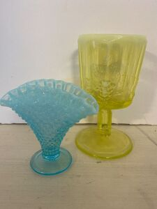 "BLUE OPALESCENT HOBNAIL 4"" FAN VASE AND 6"" PANEL PATTERN OPALESCENT VASELINE GOBLET GLASS"