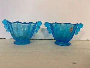 FENTON BLUE DISHES (2)