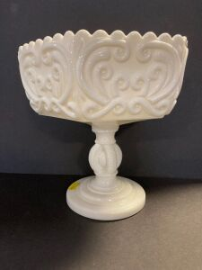 VINTAGE MILK GLASS SCROLL DESIGN PEDESTAL DISH