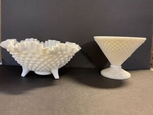 VINTAGE RUFFLED HOBNAIL FOOTED DISH AND OTHER MILK GLASS VASE (2)