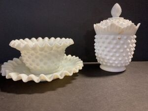 3 PIECE HOBNAIL MILK GLASS DISHES