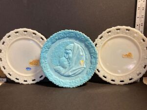 FENTON POWDER BLUE FROSTED 'MADONNA WITH CHILD' PLATE 1971 & TWO IMPERIAL GLASS PLATES (3)