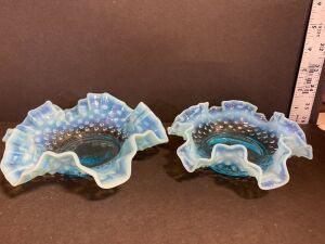 OPALESCENT BLUE HOBNAIL SCALLOPED/ RUFFLED DISHES