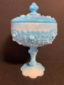 BLUE AND WHITE SLAG GLASS PEDESTAL COVERED DISH