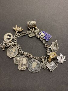 .925 CHARM BRACELET WITH 16 CHARMS