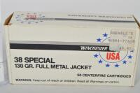 50 rounds of WINCHESTER CAL. .38SPL 130 grain full metal jacket - 3