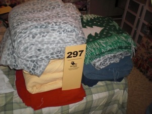 (2) Stacks of flannel sheets, bedding