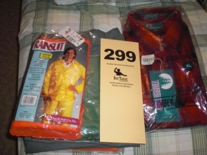 Rainsuits, flannel shirt (most in package)