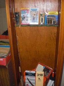 Contents of gun cabinet: sporting goods