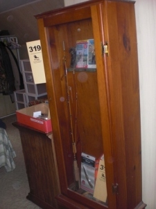 Glass door, (5) gun cabinet